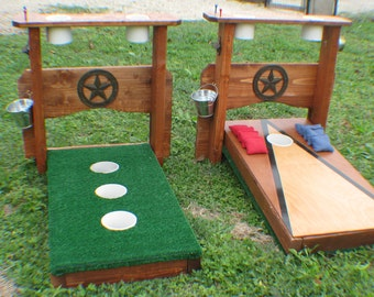 Double Sided Washer Boards & Cornhole Boards with Drink Holders and Texas Star