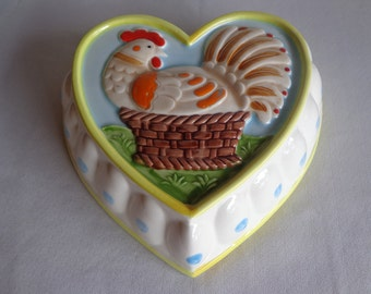 Vintage Colorful Ceramic Rooster Heart Wall Hanging