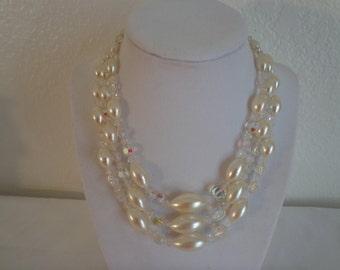 Stunning Vintage 3-Strand Beaded Necklace