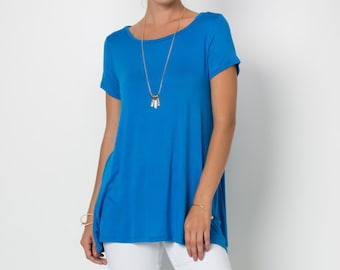 T2412 Short Sleeve Round Neck A-Line Tunic T Shirt Top (Made in USA)