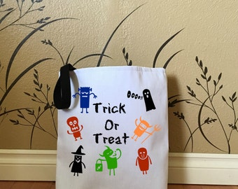 Halloween Trick or Treat Bag with Little Monsters, Kids Tote Bags, Cute Halloween Bags, Halloween Decorations, 13 x 13, 9 x 9