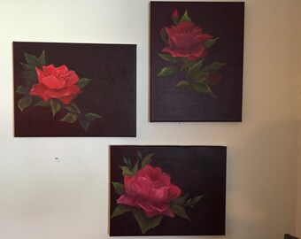 Red Rose in bloom, triptyche art, oil on canvas