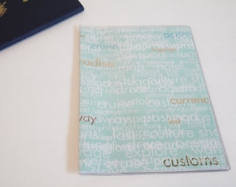 Passport Cover Quote Light Blue, Travel Words. Passport  Sleeve, Case, Holder