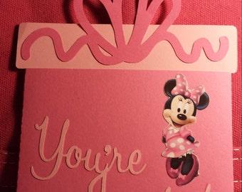 Minnie Mouse Gift Box Card Invitations Quantity of 10