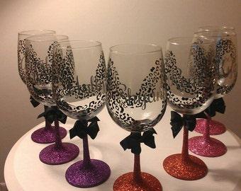 Personalized Leopard/Cheetah Print Wine Glass 16oz