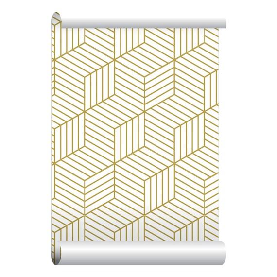 Self adhesive removable wallpaper 3d blocks gold wallpaper for Gold self adhesive wallpaper