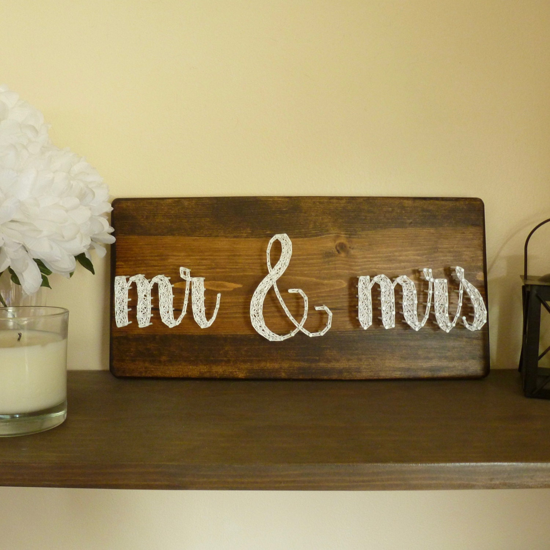 Mr & Mrs String Art Wedding Gift Mr And Mrs Sign
