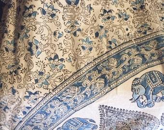 Indian block print bedspread sheet in blue with elephants