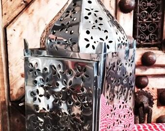 Stainless steel pierced candle lantern lrg