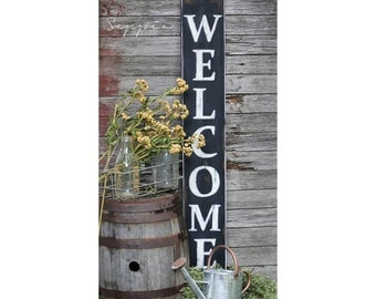 Welcome Sign, Black Handpainted on Rustic Wood