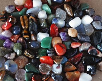 Bulk Tumbled Semi-Precious Mineral Gemstone Mix in 1 pound or 3 pounds-Kids of All Ages-Great in Sandboxes, Birthday Parties, Identifying