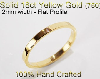 18ct 750 Solid Yellow Gold Ring Wedding Engagement Friendship Friend Flat Band 2mm