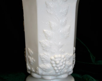 "Vintage Westmoreland Glass ""grapes"" pattern spooner; Westmoreland Glass vase; grape pattern milk glass"
