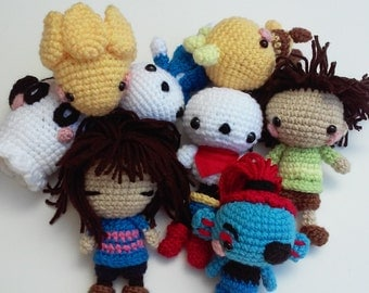 Set of 4+ Undertale Amigurumi, Frisk, Alphys, Monster Kid, Undertale, Sans, Undyne, Napstablook, Papyrus, Made to Order