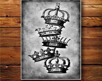 Royal Crown Poster,   King Print, King Art decor, Queen Decor BW063