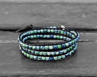 Leather Bracelet Wrap Bracelet Charm Bracelet Leather Wrap Bracelet 4mm Beaded Bracelet with Black Leather Cord
