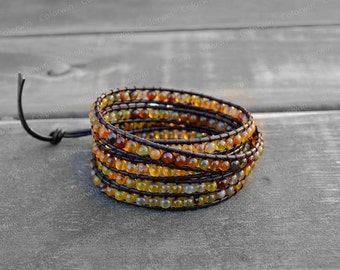 Leather Bracelet Agate Wrap Bracelet Beaded Bracelet Leather Wrap Bracelet 4mm Beaded Bracelet with Brown Leather Cord Best Friend Gift