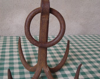 Old French Well Hook.  Vintage iron hook.
