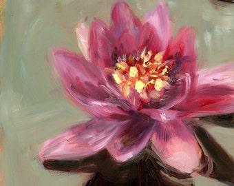 Lotus Flower Painting, Original Art, Oil Painting, Pink