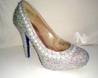 Shoes ~ Pearl high heels ~ Wedding, Bridesmaid, Mother of the Bride, Sweet 16, Prom, Graduation, Party, Evening Shoes, 4th July