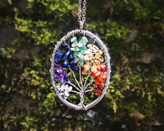 Healing Crystals Chakra Tree Of Life Hippie Necklace