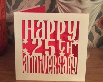 Papercut - 1st, 10th, 20th 25th 40th, 50th  etc..... Anniversary Card
