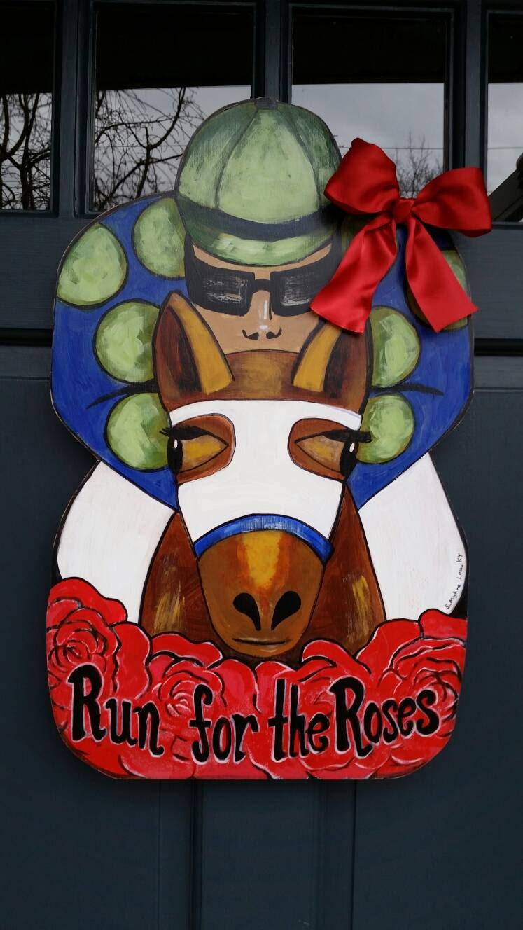 Up sized xxl kentucky derby run for the roses door for Decoration xxl