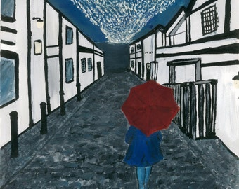 giclee fine art print, Ashton Lane,Glasgow, original A4, Iconic west end, Scotland, girl & red umbrella painting acrylic