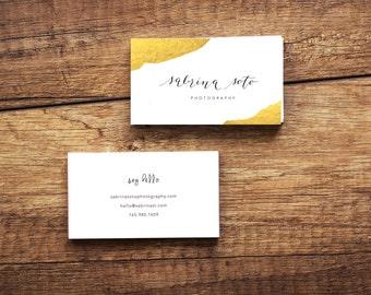 Custom Business Card Design - Calligraphy- Gold Foil