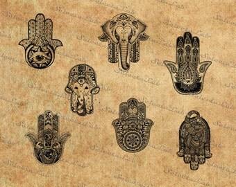 Digital SVG PNG hamsa, hamsa hand, boho hand, hand of fatima, hand of miriam, peace, clipart, vector, silhouette, instant download