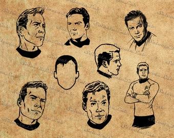 Digital image star trek inspired, Kirk, captain kirk, star trek, silhouette, vector, clipart, instant download
