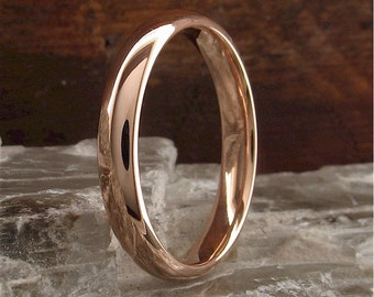 Wedding ring, Ladies rose gold polished finish 3mm wide. 9ct red court band.