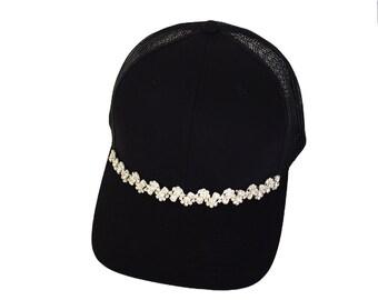 Rhinestone Hat, Embellishment Hats, Black Caps, Embellishment Caps, Trucker Hats, Bling Hats, Bling Caps, Black Hats, Rhinestone Crown