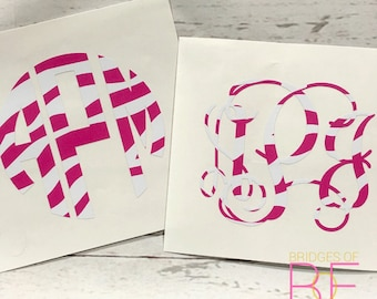 Pink & White Zebra Print Monogram Decal Sticker