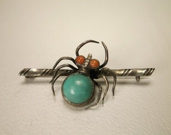 Antique Sterling Silver Navajo Spider Brooch Turq Coral