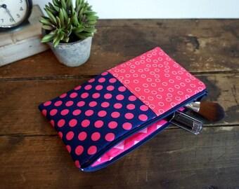Make-up or Pencil Bag, Hot Pink and Navy Dots, Long Rectangle Make Up Bag