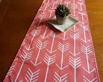 "Coral Arrows Table Runner - Premier Print Arrow Tribal Print, 60"" Table Runner, Tribal Dining Room Table Runner, Coral Decor"