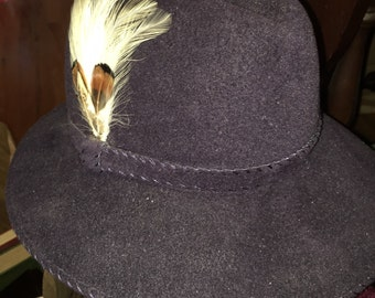 Vintage Felt Fedora with Feathers Accent