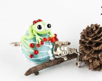 Lampwork frog Ball pendant