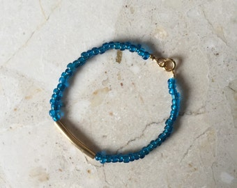 Blue and Gold Beaded Friendship Bracelet