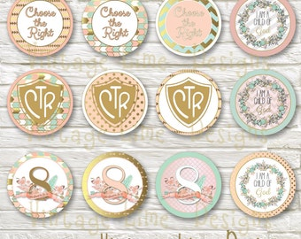 LDS Baptism Party Cupcake Toppers, Food Labels, Decorations, Digital Printable, Blush and Gold, Primary - Instant Download - Can Customize