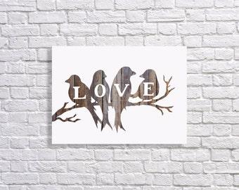 Digital Download Bird Word Love Wood backdrop 8x10