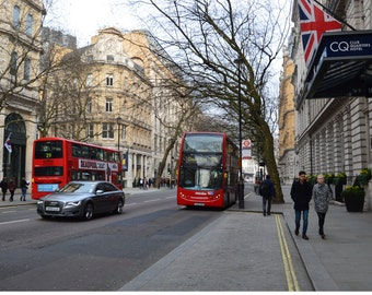 London Street with Double-decker Bus