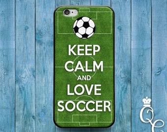 iPhone 4 4s 5 5s 5c SE 6 6s 7 plus iPod Touch 4th 5th 6th Gen Cool Phone Cover Soccer Field Ball Futbol Green Sport Cute Keep Calm Case
