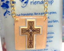 Christian Necklace -  Cross Necklace - Gift Women -  Resin Jewelry -  Wood Necklace  - Faith Jewelry -  Cross Charm - Faith Charm