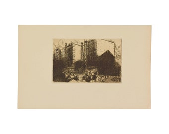 JULIEN LEMORDANT Maisons en Construction Houses 1912 Etching Aquatint