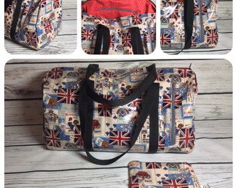 London theme duffel handbag with matching coin purse made from oilcloth