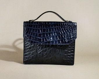 Vintage Blue Croc Imitation Leather Bag, Handbag, Shoulderbag, Mini Messenger