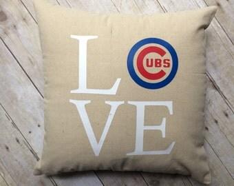 Chicago Cubs pillow- Chicago Cubs- Cubs- baseball pillow- Cubs Love- Chicago Cubs pillow cover- fly the w