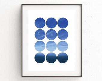 Sea Print, Sea Photography, Sea Wall Art, Circle Print, Sky Photography, Ocean Print, Nature Photography, Circle Art, Blue Print